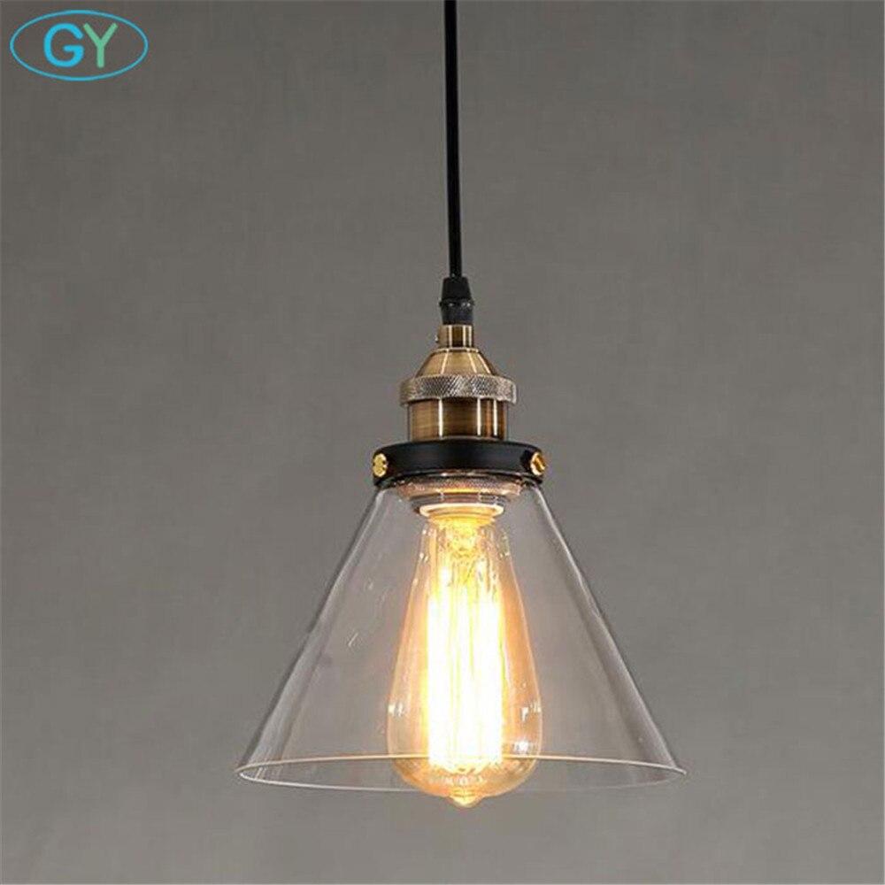 AC100-240V  Clear Glass Lampshade funnel Pendant Light Kitchen Lamp Edison bulb pendant lighting Modern Industrial lights<br>