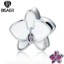 BISAER 925 Sterling Silver 2 Color Butterfly Orchid Enamel Beads fit Original Pandora Charm Bracelets DIY Fine Jewelry GYC139