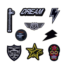 Fashion Zipper Skull Super Girl Star Route 66 Patches Iron On Or Sew Fabric Sticker For Clothes Badge Embroidered Appliques DIY