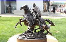 "free shipping 10"" Western Bronze Copper Marble Decoration Warrior Knight Horse Sculpture Statue fast(China)"