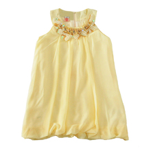 chiffon girl dress 2017 summer embed pearl kids dresses for baby girl clothes fashion brand girls party dress christmas gifts