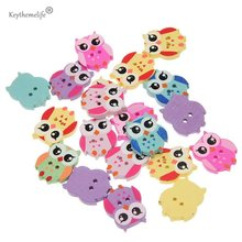 Cartoon Wood Buttons 50pcs/lot Cute Owl Animal Buttons Sewing Children Buttons Clothes Ornament DIY Making D0
