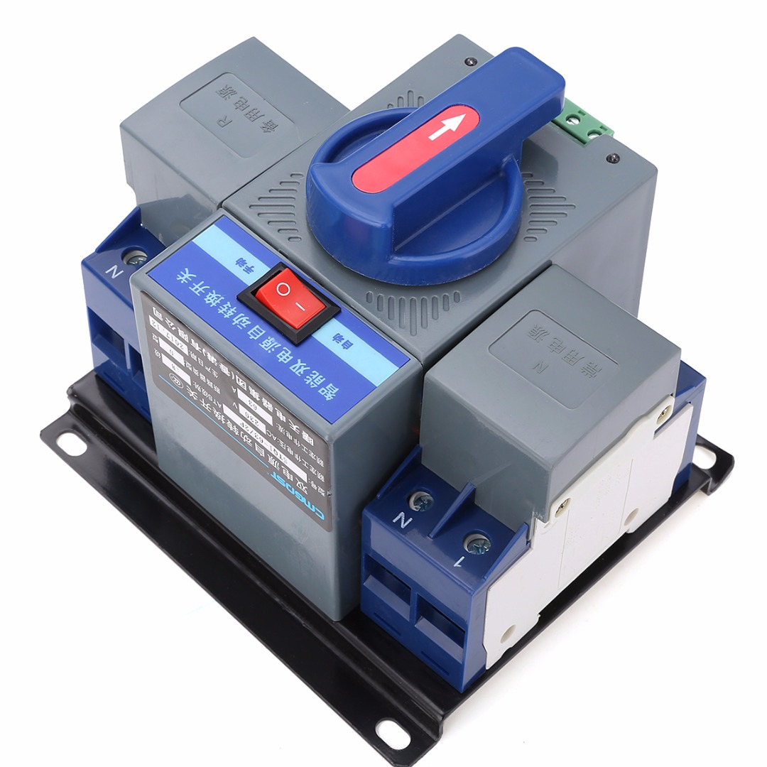 1pc Indicator Light Display Dual Power Automatic Transfer Switch 63A 2P 50HZ/60HZ 150mmx137mmx118mm<br>