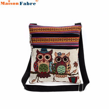 2017 New Fashion Women Embroidered Owl Messenger Bag Ladies Mini Shoulder Bag Female Vintage Cute Phone Crossbody Post Bag Jan18