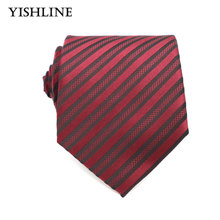 XT112 Mens Accessories 8cm Dark Red Stripes 100% Silk Ties Men Brand Neckwear Business Wedding Grooms Necktie for Suit Shirt(China)
