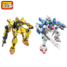 New Middle Size Gundam Action Figure Model Diamond Building Blocks LOZ 16cm 6 pcs/set Toys for Children 9+(China)