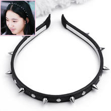 Fashion Women Lady Leather Spike Rivet Studded Headband Bow Hair Band Party Punk Gothic Cool Style Accessories Headwear Black(China)
