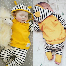 Autumn Newborn Infant Baby Boys Girls Clothes Sets Long Sleeved Hooded Jacket + Striped Pants 2PCS Baby Clothes Suit 0-24 Months(China)