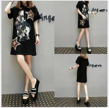 2017 new large size fat MM tide horses printed sequins five-pointed star loose long T-shirt dress slim casual fashion flare