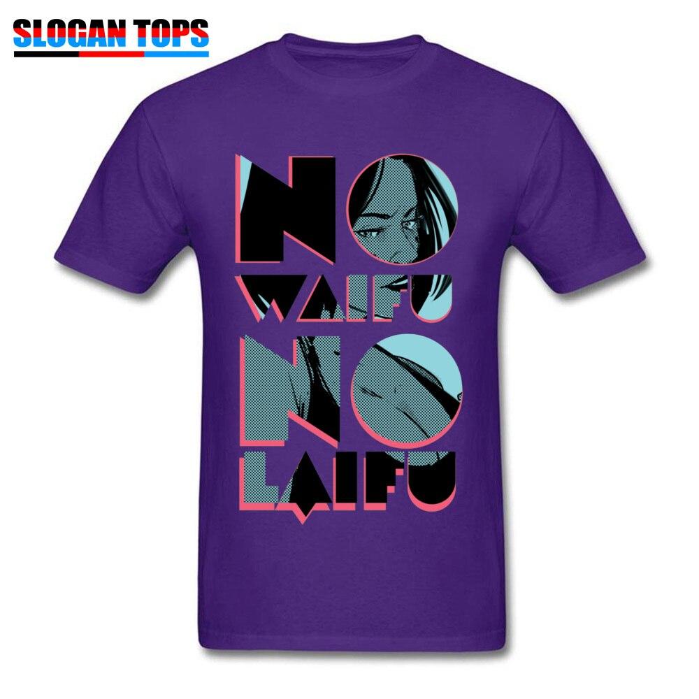 No Waifu No Laifu 17580 Tops Shirt Funny Crew Neck Normal Short Sleeve Cotton Fabric Men Tshirts Summer Tee Shirts No Waifu No Laifu 17580 purple