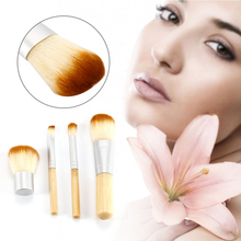 Premium 4pcs Bamboo Handle Makeup Brushes Set Mineral Powder Conclear Eye Shadow Cosmetic Brush Beauty Tools A Linen Roll Bag(China)