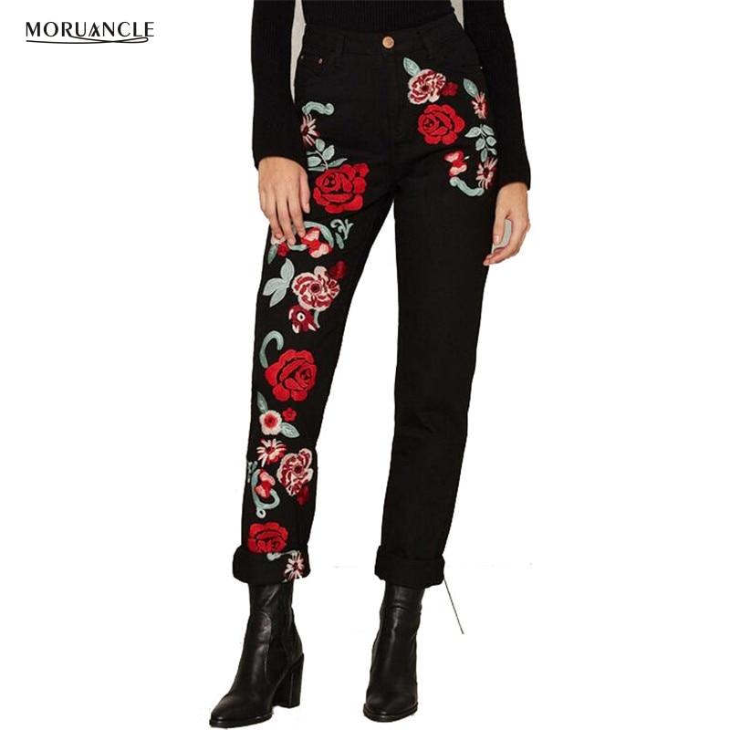 MORUANCLE Fashion Womens Embroider Jeans Pants High Waist Denim Trousers Witn Flower Embroidery Baggy Jogger Jeans Size S-3XLÎäåæäà è àêñåññóàðû<br><br>