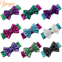 1PC 2017 5'' Big Messy Sequins Bow Glitter Metallic Mermaid Headband,Girls And Kids Mermaid Hairbow Hair Band Hair Accessories