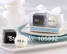 "2014 wedding door gifts giveaways of ""Mr. & Mrs."" Ceramic Salt & Pepper Shakers free shipping(China)"