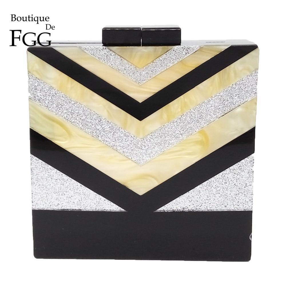 Gold Silver Black Striped Patchwork Women Acrylic Box Evening Clutches Bag Wedding Party HardCase Bridal Shoulder Handbags Purse<br><br>Aliexpress