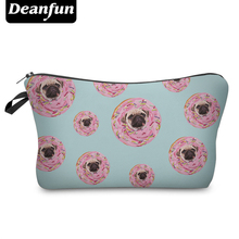 Deanfun Cute Cosmetic Bags 3D Printed Donut with Pug Fun Organizer for Women Travel Storage Makeup 50789