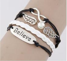 Min. order $10 ! Free shipping! Angel wing Multi layer Swallow leather charm bracelets. Smart love bangles jewelry Hot