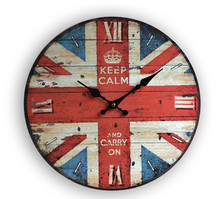 "Free Shiping 13""Vintage England Banner Colourful Printed Wooden Wall Clock for Home Decoration(China)"