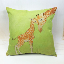 New Design lucky Giraffe Cushion Case Almofada De Luxo Camping 17.7inch Linen Baby Houseware Home Decorative Summer Travesseiro