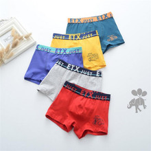 2017 new fashion Brand high quality boys cotton boxer shorts panties kids underwear for 2-16 years old teenager 5 pcs/lot(China)