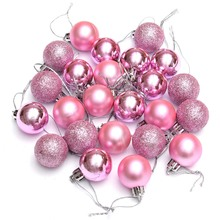 24Pcs Chic Christmas Baubles Tree Plain Glitter XMAS Ornament Ball Decoration Pink