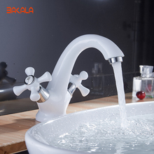 Elegant Deck Mount Two Cristal Handles Basin Faucet White & Gold Bathroom Sink Mixer Tap hot and cold water BR-9136(China)