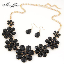 2017 Fashion Jewerly Sets for Women Accessories Vintage Flower Necklace and Earrings Sets Parure Bijoux Femme Statement Collares