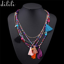 DILILI Bohemian Multi-Color Tassel necklace women collares ethnic collier jewelry beads Chain statement necklaces & pendants(China)