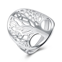 Beautiful silver tree of life ring hollow fashion unique novelty brand design women lady gift men unisex cute gift(China)