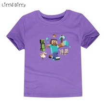 Little Bitty summer style boys minecraft t shirt kids cotton t-shirt baby girls children t shirts short sleeve clothes for 2-14