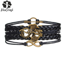 2017 Vintage Dragon Arrow Bracelet Homme Rope Wrap Multilayer Leather Braided Bracelet Charm Bracelets For Men(China)