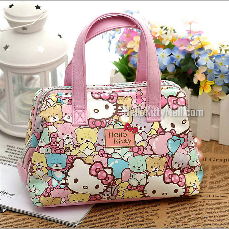 Free shipping Fashion hello kitty top-handle bags High-quality PU 2017 Cute bear and cat kids bag small handle bags<br>
