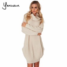 Yanueun Fashion 2017 Women Autumn Winter Knitted Dress Turtleneck Long Sleeve Ribbed Casual Mini Sweater Dresses With Pockets