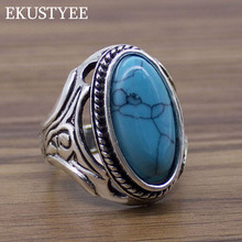 2018 New Personalized Jewelry Vintage Antique Silver Turquoises Ring for Men Tibet Women Finger Ring(China)