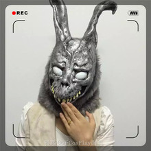 Top Grade 100% Latex Donnie Darko FRANK the Bunny Rabbit MASK Latex Overhead with Fur Adult Costume Full Head Animal Rabbit Mask