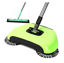 Broom Cleaner Robot Household Cleaning Hand Push Sweeper Broom machine Floor Cleaner Dustpan Combination+EVA Sweeper-Green