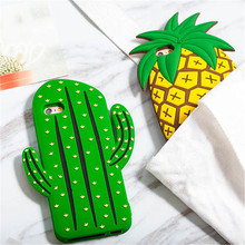 New Cute 3D Cartoon Fruit Summer Pineapple Green Cactus Soft Silicone Phone Cases Cover For iPhone 7 7Plus 5 5S SE 6 6S 6Plus(China)