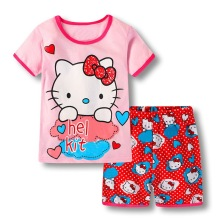short sleeved shorts 2pcs/ Set kids Summer children's pajamas baby air conditioning suit summer boy girl cartoon sleepwear set(China)