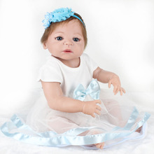 Full silicone reborn baby girls dolls lifelike newborn girl babies doll for child bathe shower bedtime toy doll collection