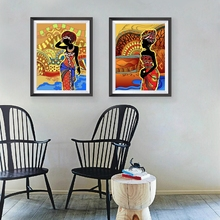 Beautiful Black Woman Art Prints Wall Picture , African Woman Portrait Canvas Painting Retro Wall Art Poster(China)