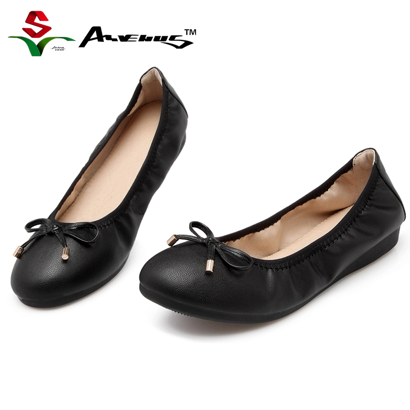 Anvenus Women Round Toe Cute Bow Ballet Flats 2017 Spring/Autumn Female Brand New Slip-On Soft Sole Comfort Casual Work Shoes(China)