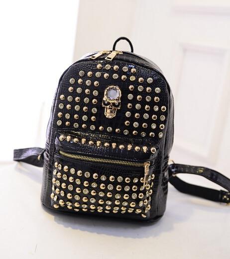 2017 Fall Fashion backpack High quality PU leather Women bag College Wind shoulder bag rivet Skull punk girl schoolbag Travel<br><br>Aliexpress