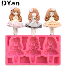 Cake Baking Mold Sucking Tools Liquid 3D Silicone Mold Ballet Girl DIY BakingA1347(China)
