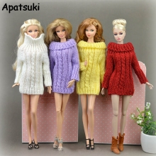 Buy Pure Manual Doll Accessories Knitted Handmade Sweater Barbie Doll Tops Coat Dress Clothes Blythe Doll 1/6 Kids Toy for $3.98 in AliExpress store