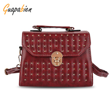 Guapabien Vintage 2017 Women Small Handbag Rivet Twist Lock Mini Tote Bag Cross Bag High Quality Hard PU Leather Shoulder Bags