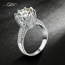 Double Fair Fashion Wedding/Engagement Ring Silver Color Jewelry Luxury Cubic Zircon Setting Unique Jewelry For Women DFR555