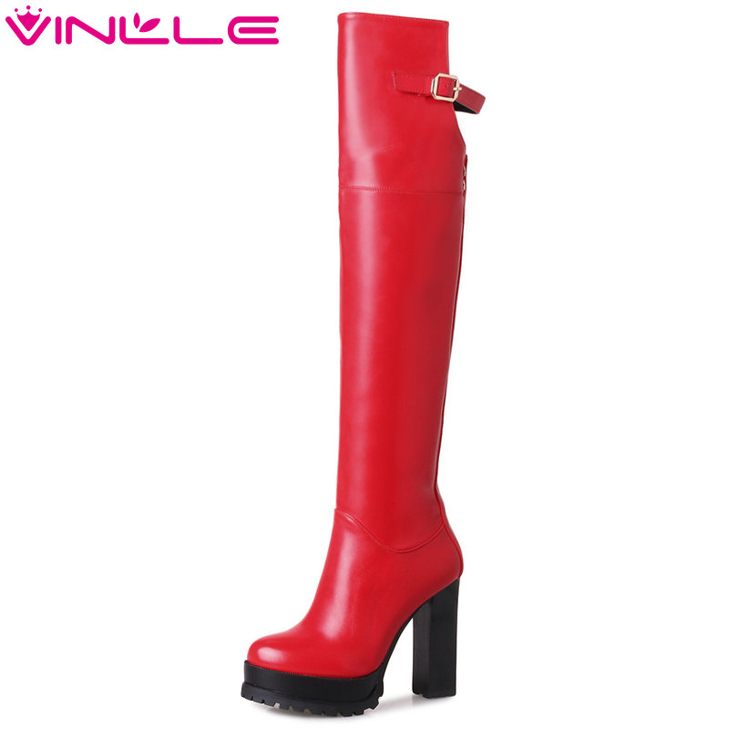 VINLLE 2018 Women Shoes Over The Knee Boots Square High Heel Black Rivet PU leather Ladies Motorcycle Shoes Size 34-43<br>