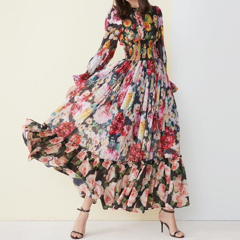 High quality 2019 new fashion Maxi dress Women's Long Sleeve Amazing Printed Waist Elasticated vintage Beach Chiffon long Dress