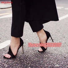 MIQUINHA 2017 Spring Runway Style Black Suede D'Orsay Women Pump Peep Toe Slip On Bicolor Flame Tip Anaconda Sandals Shoes Woman