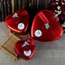 Iron Red Favor Gift Box Squarey Round Heart Shape Wedding Party Candy Box Decoration Event Party Supplies 4pcs/lot(China)